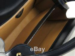Auth Celine Vintage Horse Carriage Navy Leather Hand Bag Ey285