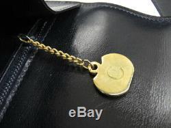 Auth Celine Vintage Horse Carriage Navy Leather Shoulder Bag Ey254