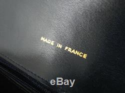 Auth Celine Vintage Horse Carriage Navy Leather Shoulder Bag Ey365