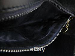 Auth Celine Vintage Horse Carriage Navy Leather Shoulder Bag Ey612