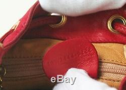 Auth GUCCI Red Suede Leather Horsebit Drawstring Small Shoulder Handbag Vintage