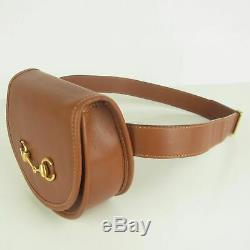 Auth GUCCI Vintage Horse Bit Leather Waist Pouch Fanny Pack Bum Bag F/S 7539bkac