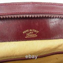 Auth GUCCI Vintage Logos Horse Bit Logos Leather Clutch Bag Bordeaux 19015bkac