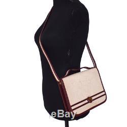 Auth HERMES Horse Logos 2way Hand Bag Beige Bordeaux Toile H Vintage AK22311