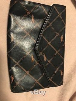 Auth LONGCHAMP Vintage Horse Riding Mark Leather Clutch Bag Medium/large