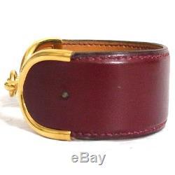 Auth Vintage Hermes Goldtone Horse Bit Bordeaux Leather Cuff Bangle Bracelet C