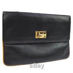 Authentic CELINE Horse Carriage Clutch Hand Bag Black Leather Vintage AK22314