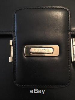 Authentic CELINE Horse Carriage Cross Body Shoulder Bag Black Leather Vintage