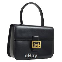 Authentic CELINE Horse Carriage Hand Bag Black Leather Vintage Italy JT06848