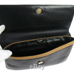 Authentic CELINE Horse Carriage Logos Clutch Black Leather Vintage GOOD M13919k