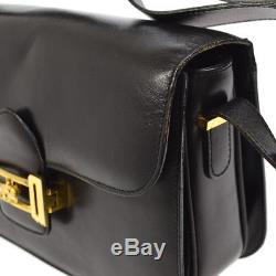 Authentic CELINE Horse Carriage Shoulder Bag Black Leather Italy Vintage AK16484