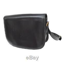 Authentic CELINE Horse Carriage Shoulder Bag Black Leather Italy Vintage LP00188