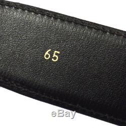 Authentic CELINE Horse Logos Buckle Belt Black Gold Leather Vintage M12862