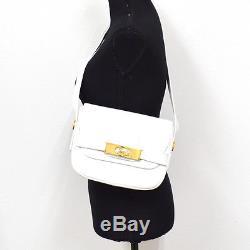 Authentic CELINE Logos Horse Carriage Shoulder Bag White Leather Vintage A30897