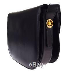 Authentic CELINE Logos Shoulder Bag Horse carriage Leather Black Vintage 78P228
