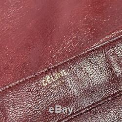 Authentic CELINE VINTAGE CARRIAGE Leather Red Logo SHOULDER BAG MADE IN ITALY