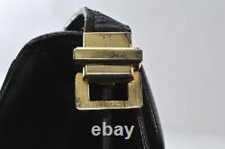 Authentic CELINE Vintage Horse Carriage Shoulder Bag Leather Black B3260