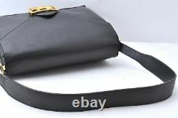Authentic CELINE Vintage Leather Horse Carriage Shoulder Bag Black A6651