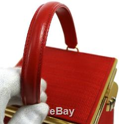Authentic COMTESSE Horse Hair Hand Bag Red Vintage GHW Germany GOOD JT05946