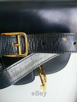 Authentic Celine Vintage Horse Carriage Navy Leather Shoulder Bag