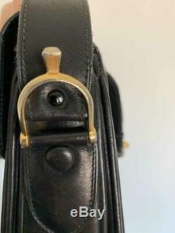 Authentic Celine Vintage Leather Shoulder Bag Horse Carriage Black