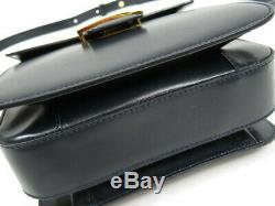 Authentic Celine Vintage Shoulder Bag Leather Handbag Horse Carriage Black