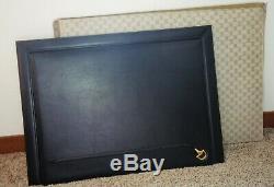 Authentic GUCCI Large Vintage Leather Horse Bit Desk Blotter Pad with Box