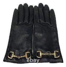 Authentic GUCCI Vintage Horse Bit Leather Gloves #7.5 Black Gold Rank AB+