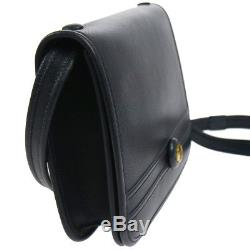 Authentic HERMES Horse Logos Shoulder Bag Navy Leather Vintage GHW GOOD O01582