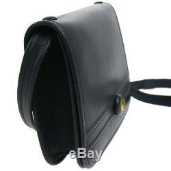 Authentic HERMES Horse Logos Shoulder Bag Navy Leather Vintage GHW GOOD O02163d