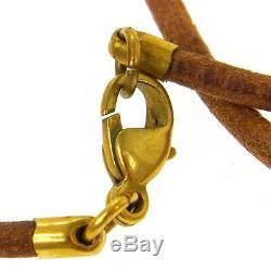 Authentic HERMES Vintage Logos Horse Motif Pendant Necklace Accessories A35265e