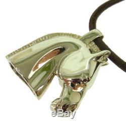 Authentic HERMES Vintage Logos Horse Motif Pendant Necklace Accessories AK17261i