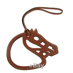 Authentic HERMES Vintage Paddock Horse Head Bag Charm Brown Leather AK19141
