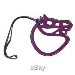 Authentic HERMES Vintage Paddock Horse Head Bag Charm Purple Leather NR12463