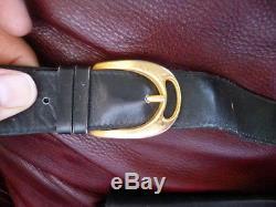 Authentic VINTAGE CELINE Logos Horse Carriage Shoulder Bag Leather Black Italy