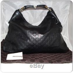 Authentic Vintage GUCCI GG Monogram Canvas HORSE-BIT HOBO BLACK BAG 114900