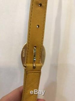 Authentic Vintage GUCCI Horse Bit Crossbody Purse Yellow Leather Embellished