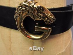 Authentic Vintage GUCCI Italy G Horse Head Brass Buckle Black Leather Belt 34 85