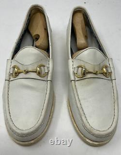 Authentic Vintage Gucci Gold Horse Bit White/Ivory Loafers Shoe Mens Sz 9 42.5