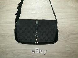 Authentic Vintage Gucci smal Shoulder bag GG Canvas monogram bag leather Jackie