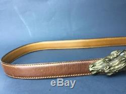 Authentic Vintage Horse Head Gucci Belt 35-38 Leather Small Brass Buckle