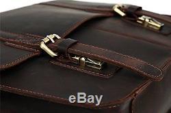 BAIGIO Men Vintage Crazy-Horse Genuine Leather laptop Briefcase shoulder Bag