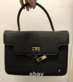 BALLY Black Leather + Horse Hair KELLY Bag Vintage Authentic Rare