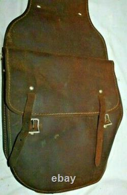 BEAUTIFUL 1910's WWI Vintage WESTERN ROUGHOUT HEAVY LEATHER HORSE SADDLE BAGS