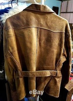 BEAUTIFUL Vintage 40s Mens Albert Richard Satintan Brown Horse Hide Sport Jacket