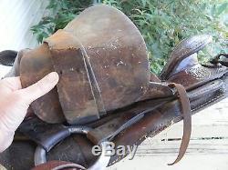BIG HORN Tooled Western Leather Horse Riding Saddle Vintage