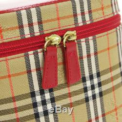 BURBERRY Nova Check Horse Carriage Cosmetic Bag Brown Nylon Vintage Auth AK41770