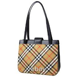 BURBERRY'S Horse Check Hand Tote Bag Brown Black Canvas Leather Vintage O03159