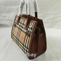 BURBERRY'S Horse Check Hand Tote Bag Purse Beige Canvas Leather Vintage No Box