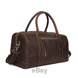 Baigio Mens Brown Vintage Crazy Horse Leather Laptop Gym Sports Weekend Duffel
